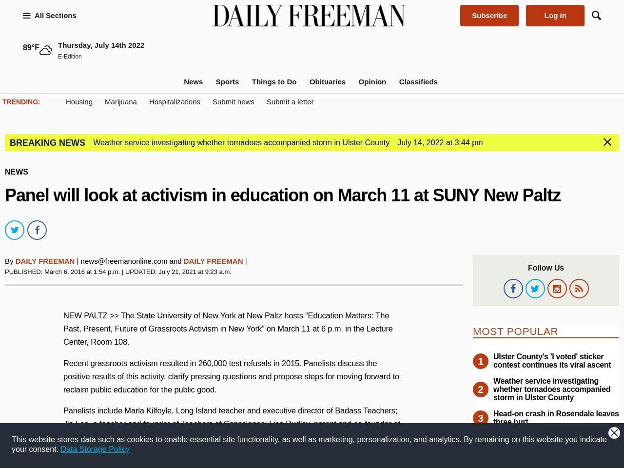 Panel will look at activism in education on March 11 at SUNY New Paltz