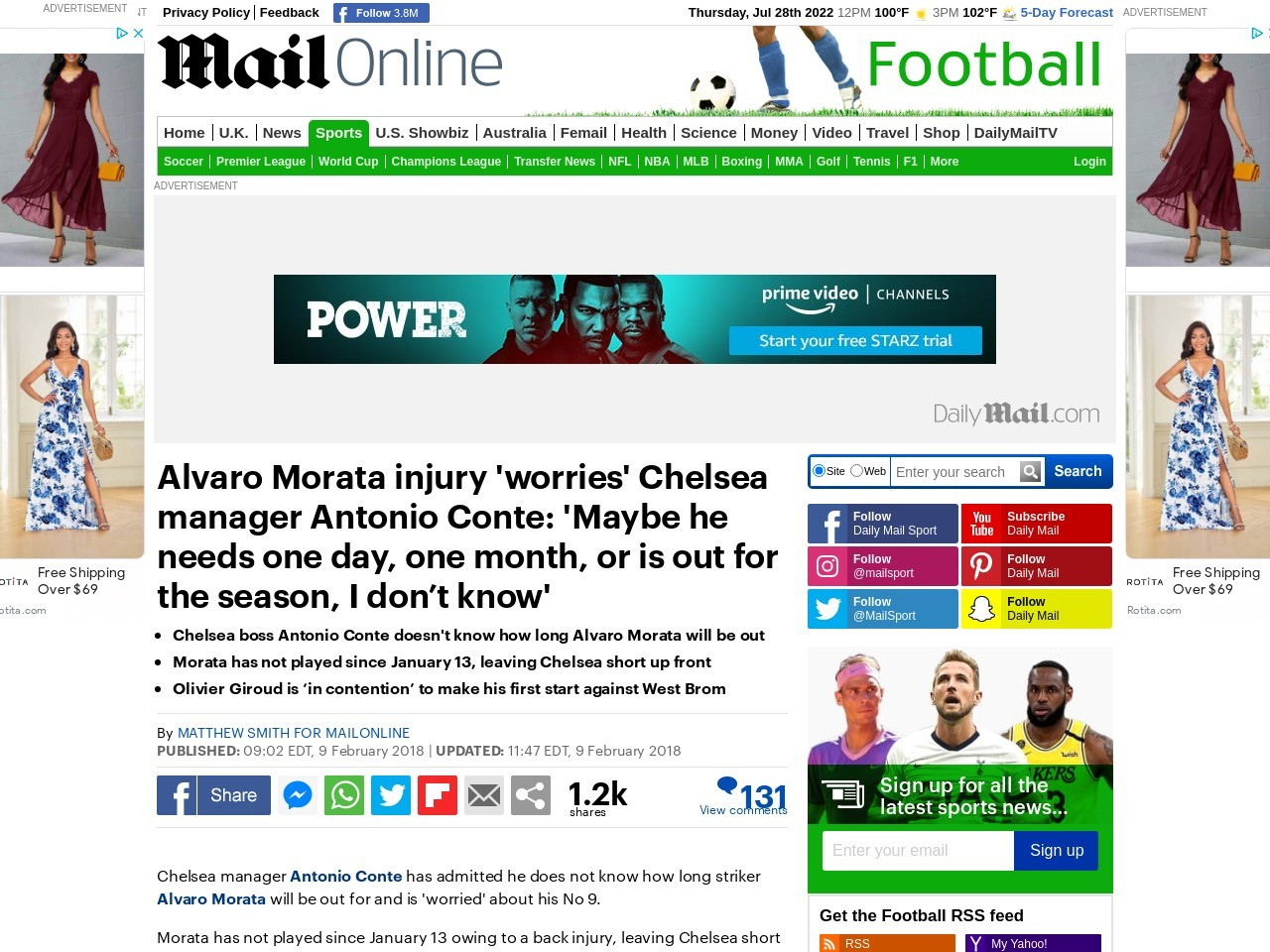 Antonio Conte 'doesn't know' how long Morata is out for