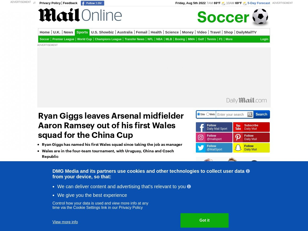 Ryan Giggs leaves Aaron Ramsey out of his first Wales squad