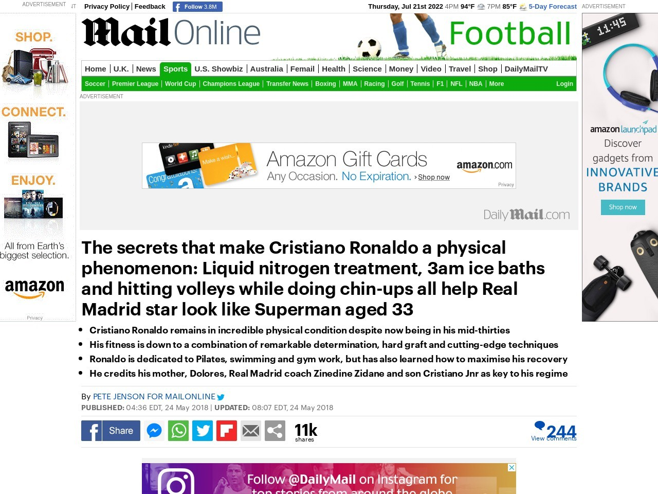 The secrets that make Cristiano Ronaldo a physical phenomenon