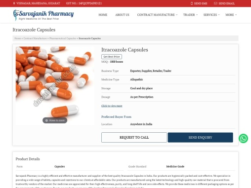 Itracoazole Capsules Suppliers in India