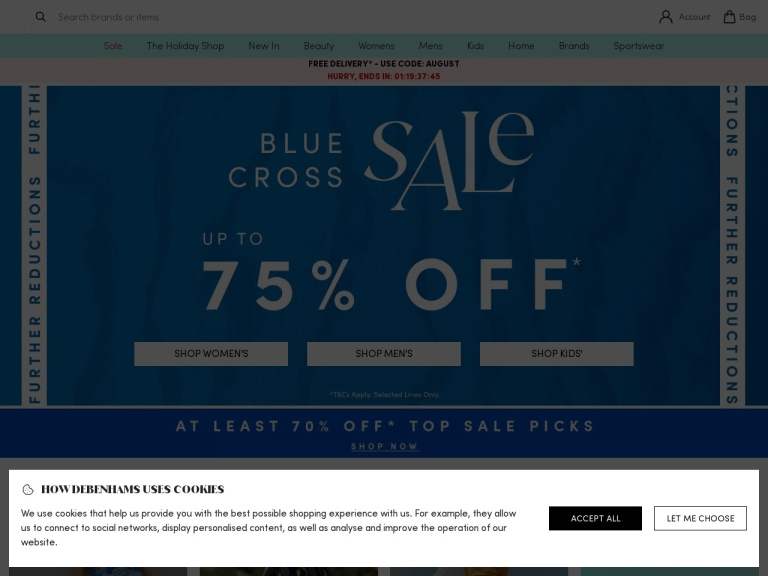 Debenhams Ie screenshot