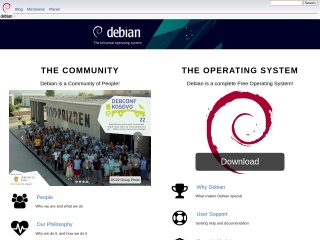 Screenshot der Website debian.org