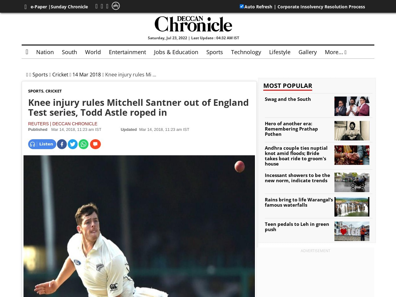Knee injury rules Mitchell Santner out of England Test collection, Todd…