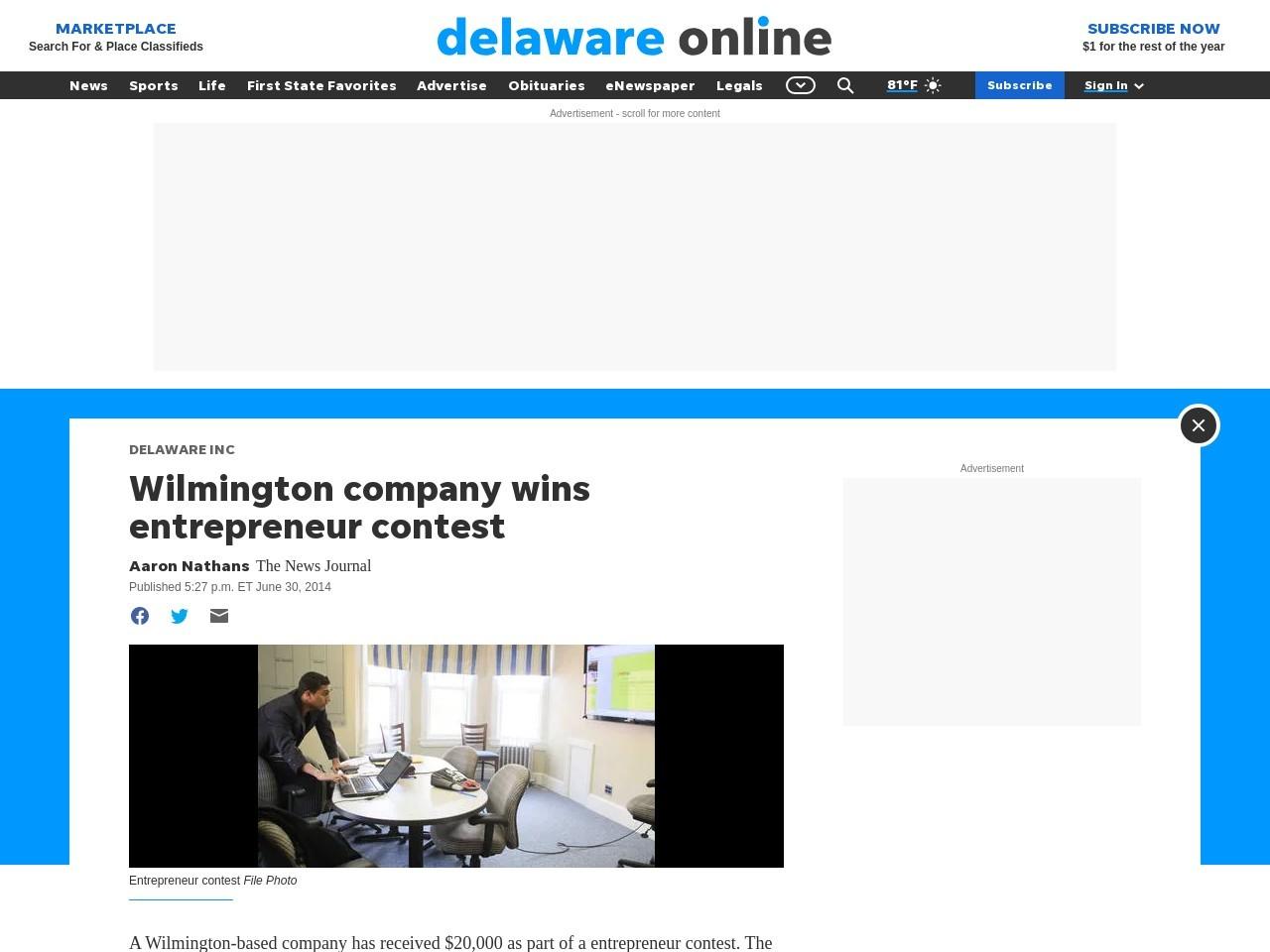 Wilmington company wins entrepreneur contest