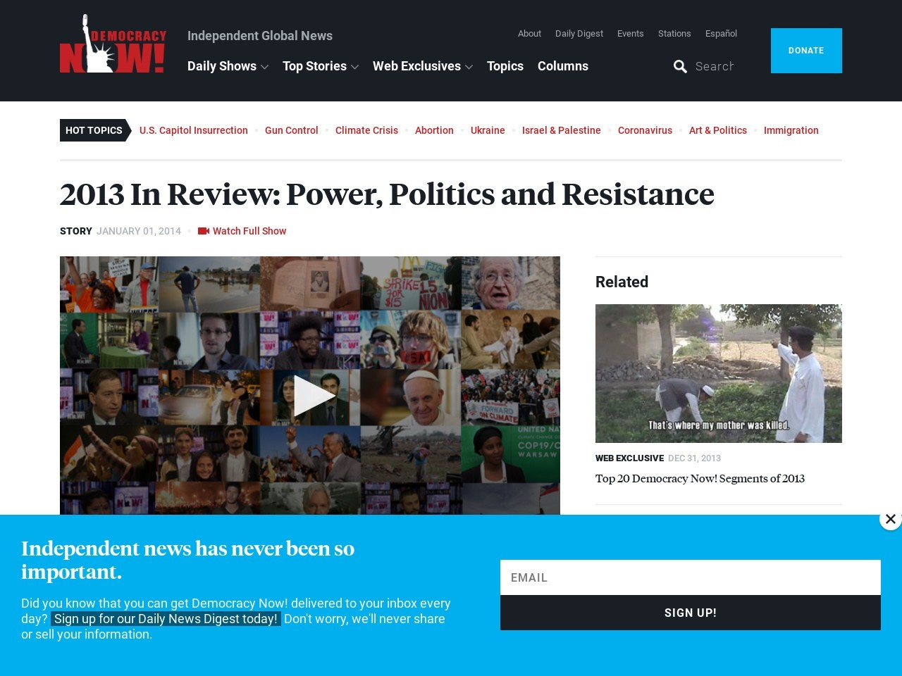 2013 In Review: Power, Politics and Resistance | Democracy Now!