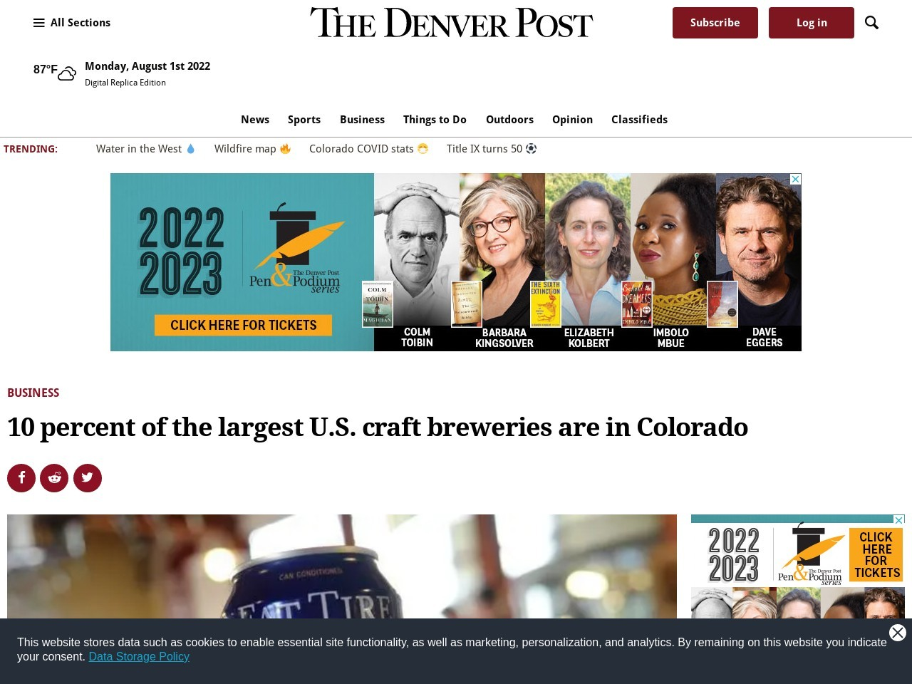 10 percent of the largest U.S. craft breweries are in Colorado