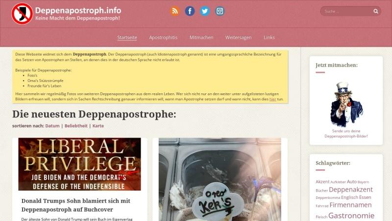 www.deppenapostroph.info Vorschau, Deppenapostroph
