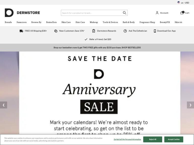 Dermstore screenshot