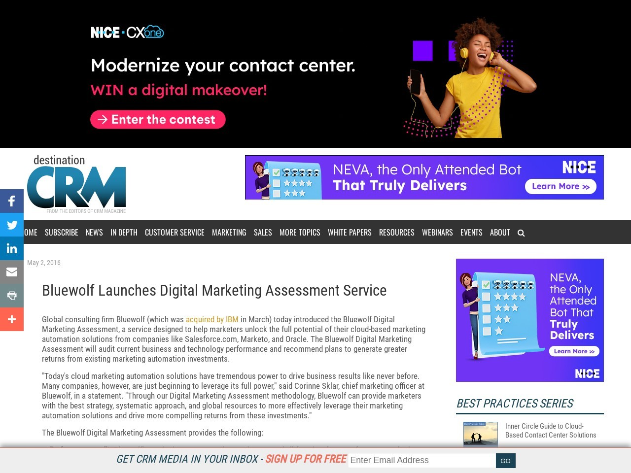 Bluewolf Launches Digital Marketing Assessment Service
