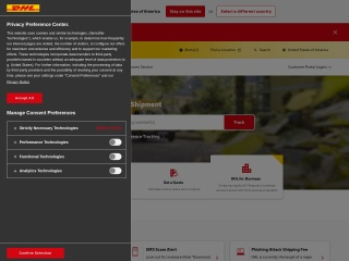 Screenshot for dhl.com
