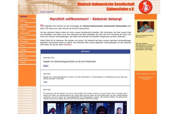 Vorschau von www.dig-suedwestfalen.de, Deutsch-Indonesische Gesellschaft Südwestfalen e.V. (DIG)