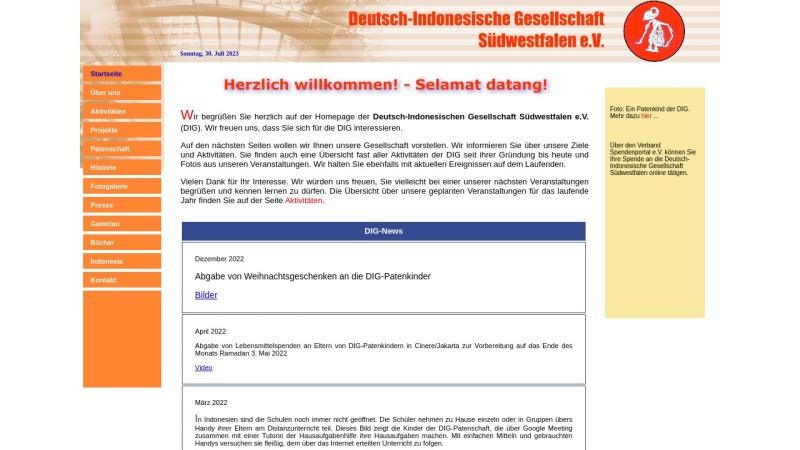 www.dig-suedwestfalen.de Vorschau, Deutsch-Indonesische Gesellschaft Südwestfalen e.V. (DIG)