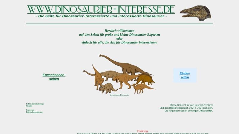 www.dinosaurier-interesse.de Vorschau, Dinosaurier-Interesse