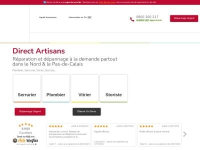 Direct Artisans : serrurier, plombier, vitrier