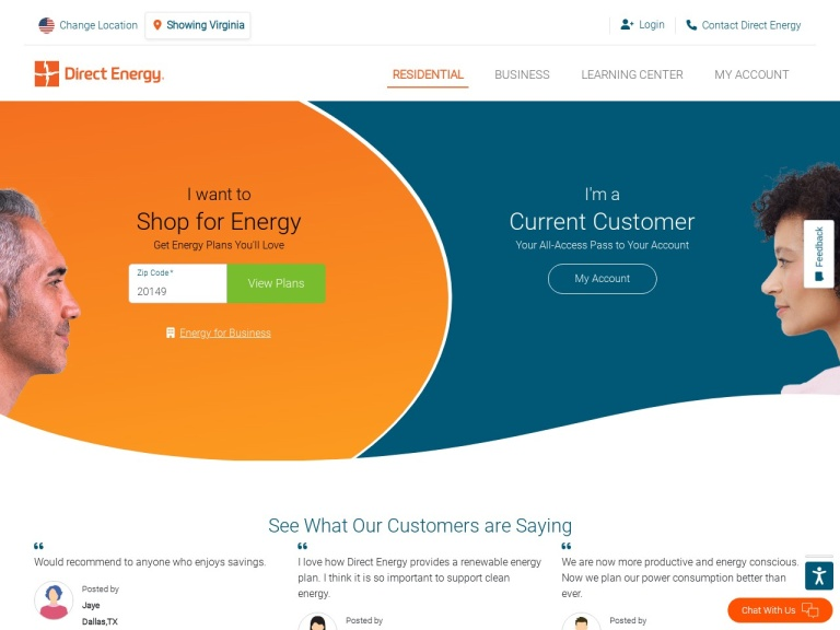 DirectEnergy.com screenshot