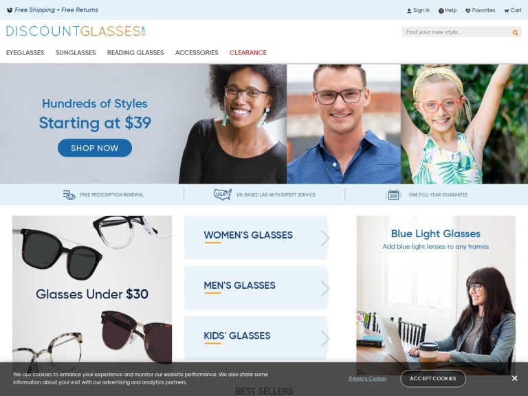Discountglasses.com screenshot