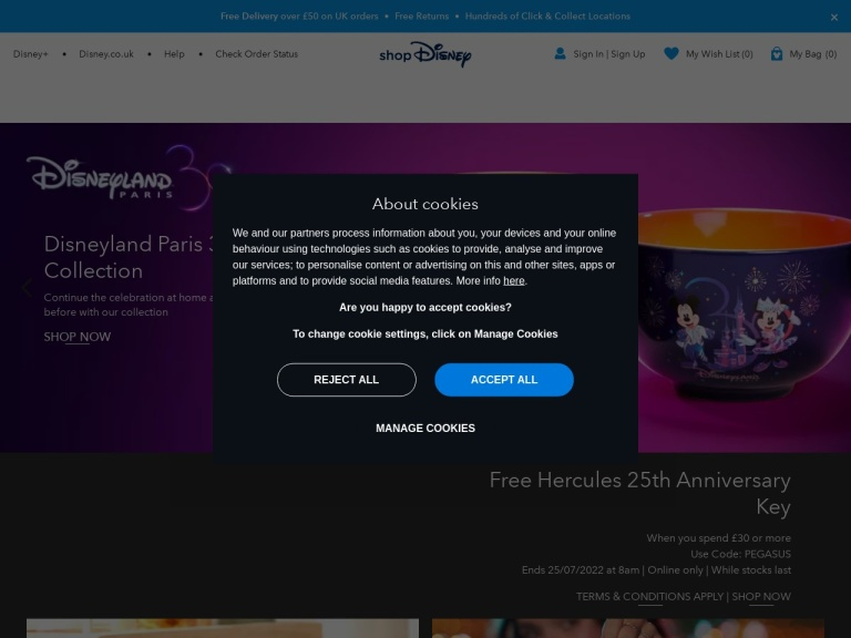 Disney Store Free Delivery screenshot