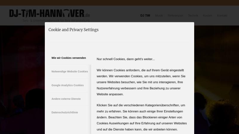 www.dj-tim-hannover.de Vorschau, DJ Tim