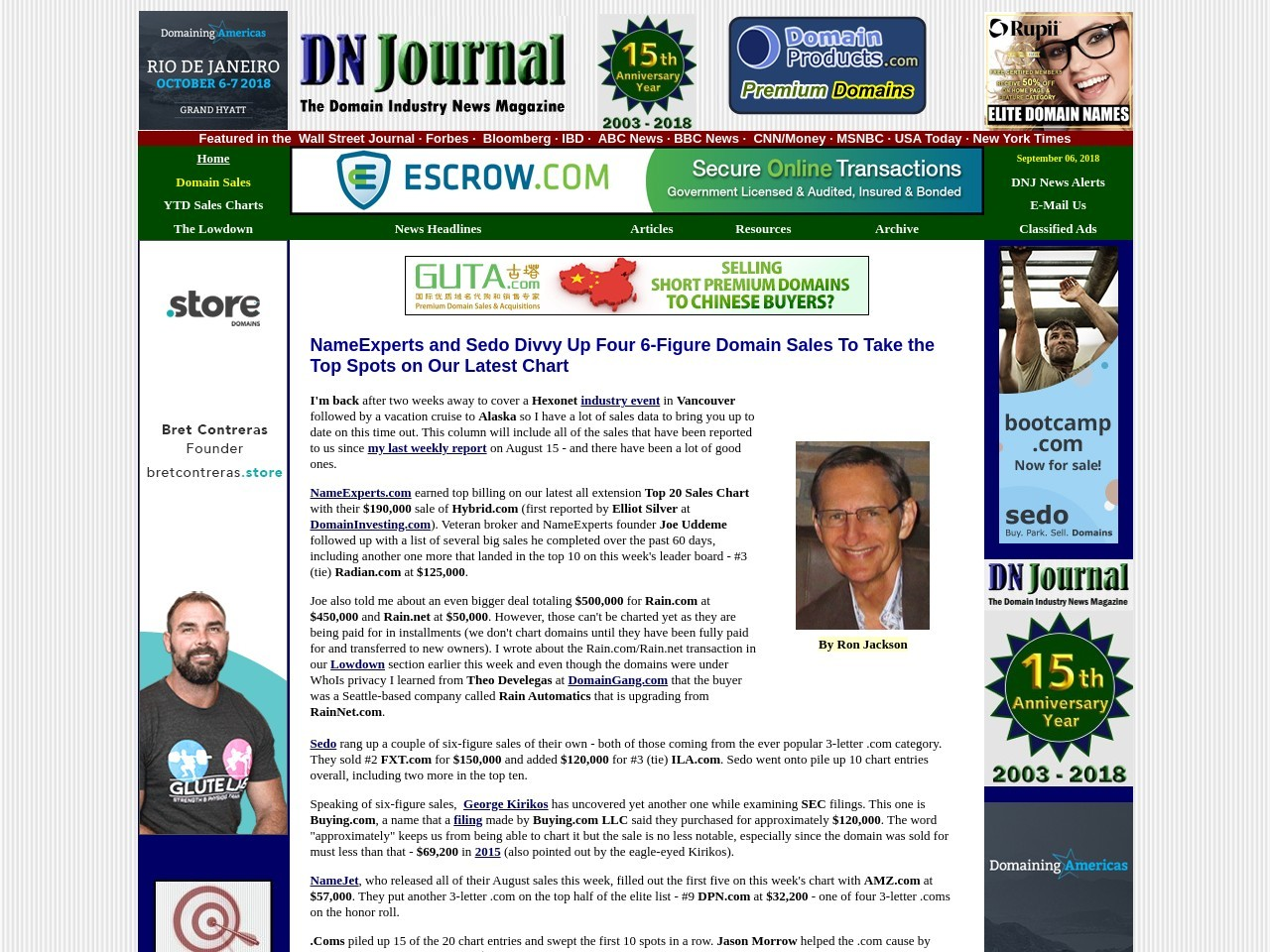 NameExperts & Sedo Divvy Up Four 6-Figure Domain Sales To Take Top Spots on DNJ Chart