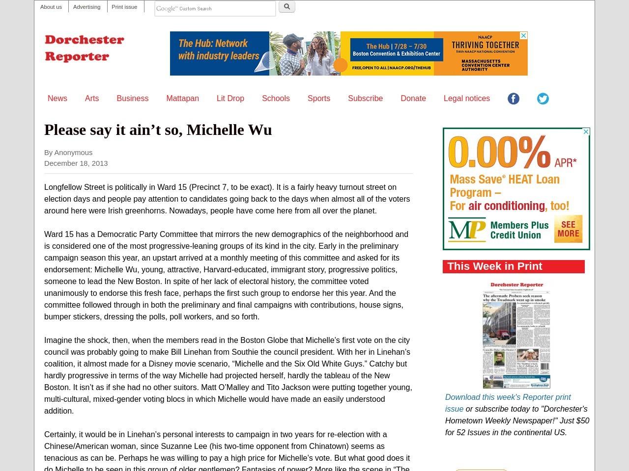 Please say it ain't so, Michelle Wu