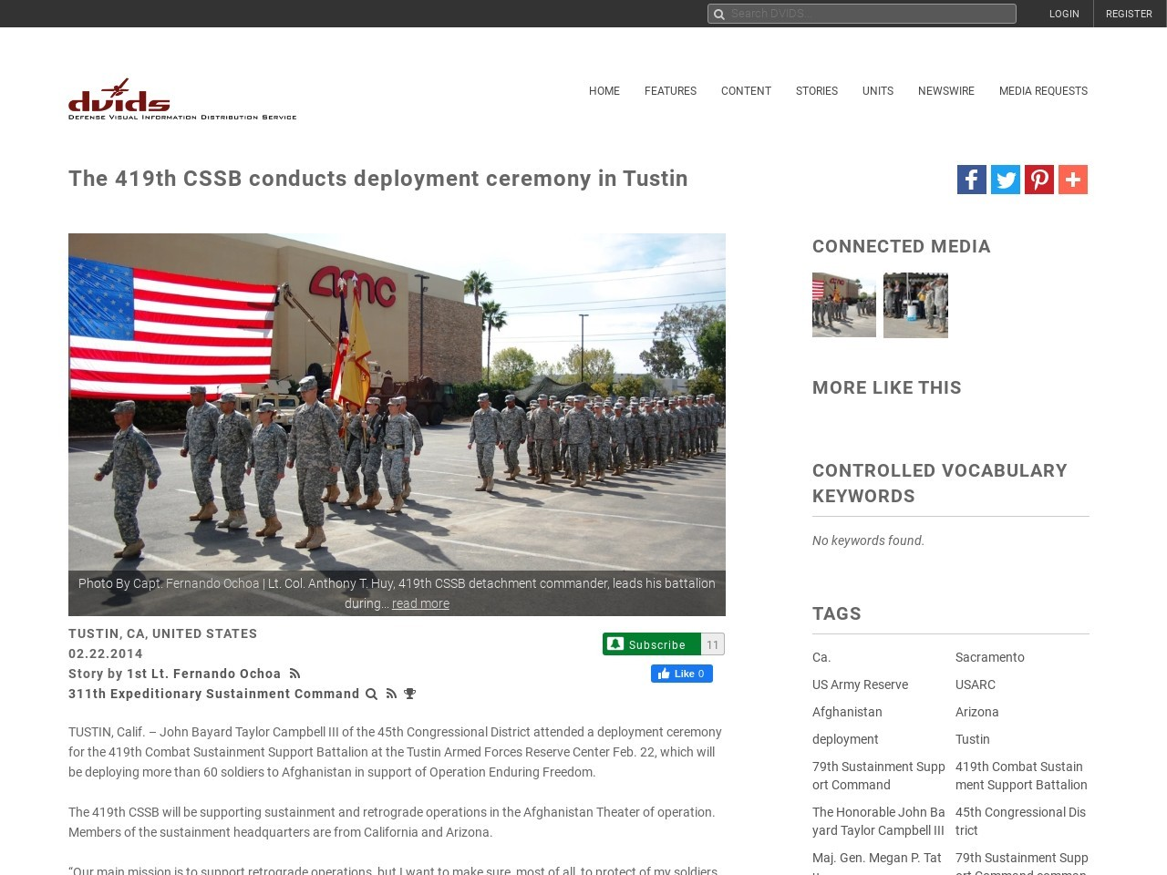 The 314th CSSB conducts deployment ceremony in Tustin