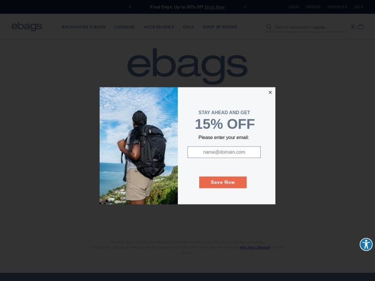Ebags screenshot