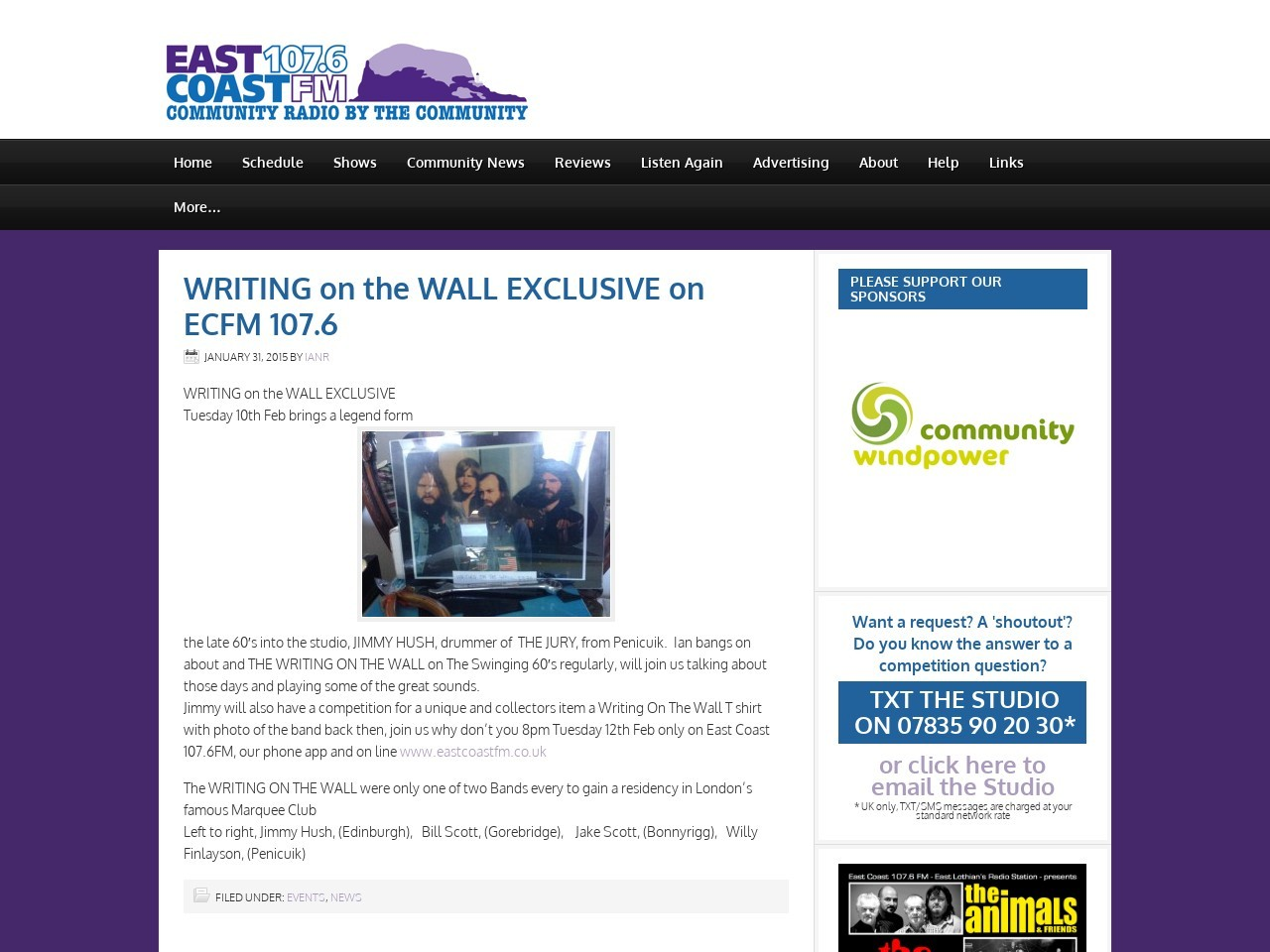 WRITING on the WALL EXCLUSIVE on ECFM 107.6