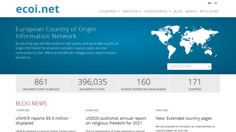 www.ecoi.net Vorschau, ecoi.net (European Country of Origin Network)