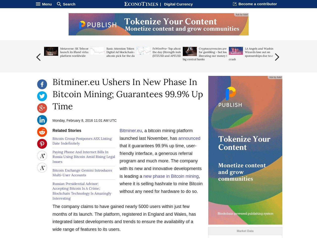 Bitminer.eu Ushers In New Phase In Bitcoin Mining Guarantees 99.9 Up Time
