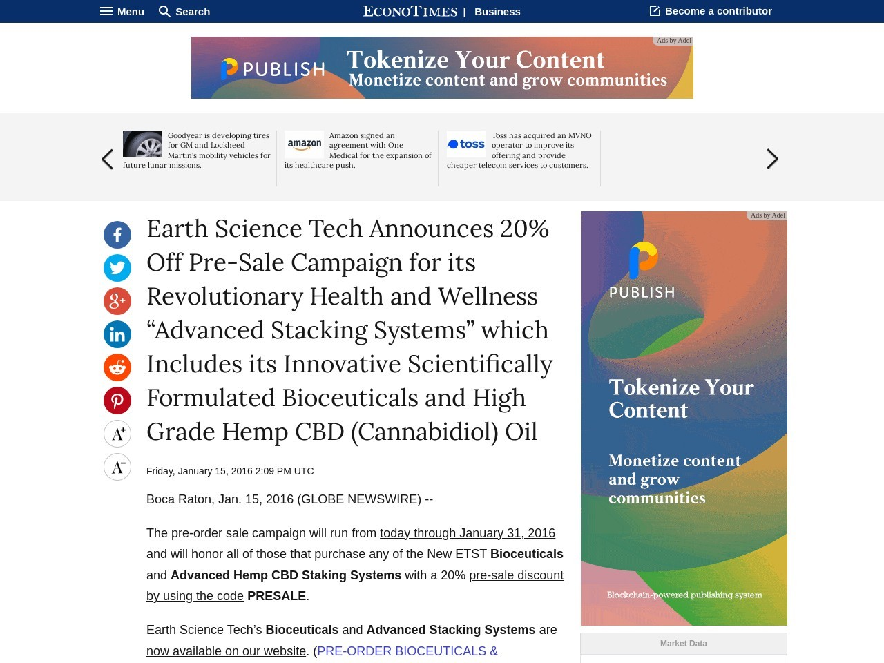 Earth Science Tech Announces 20 Off Pre-Sale Campaign for its Revolutionary …