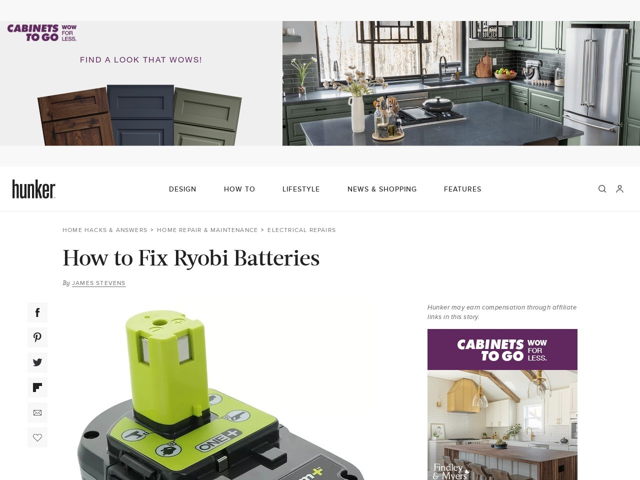 How to Rebuild a Ryobi 18V Battery. Ryobi is a large power tool manufacturer offering consumers affordable, innovative products, according to Ryobi. Ryobi produces a range of new products that operate on single-cell lithium ion batteries, but older models and those requiring greater voltage have 18-volt battery packs. The main problem with 18-volt...