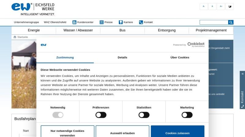 www.eichsfeldwerke.de Vorschau, Eichsfeld Werke