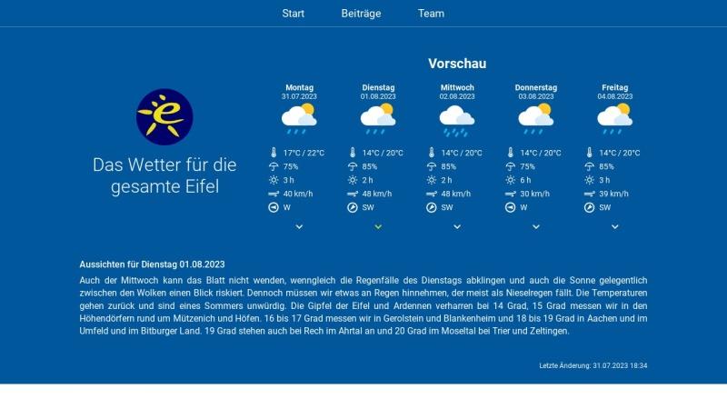 www.eifelwetter.de Vorschau, Eifelwetter