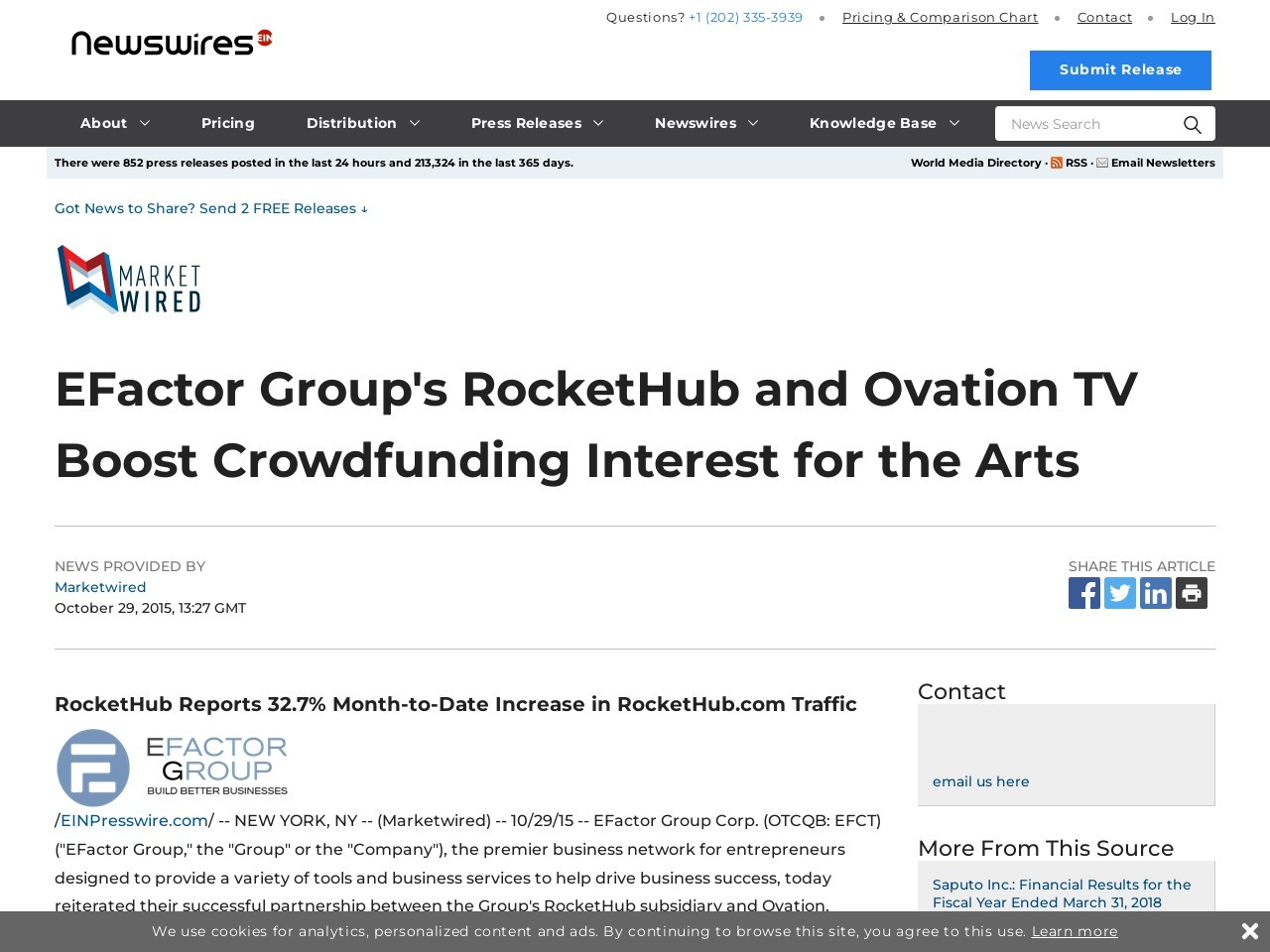 EFactor Group's RocketHub and Ovation TV Boost Crowdfunding Interest for the Arts
