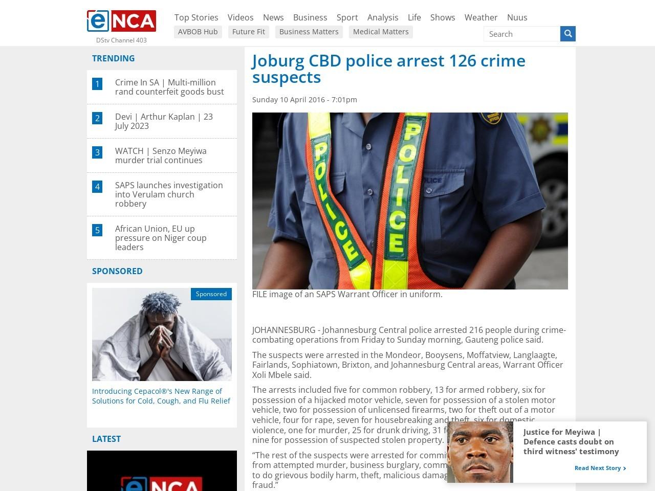 eNCA   Joburg CBD police arrest 126 crime suspects