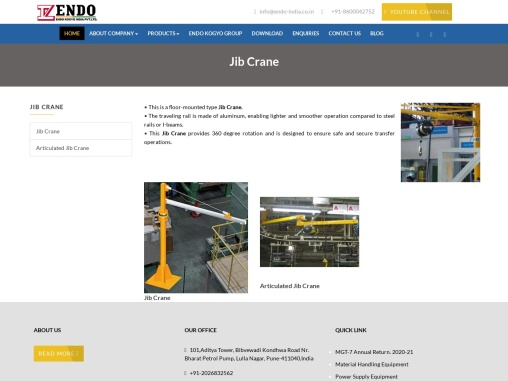Jib Cranes Company in Pune,Jib Cranes services in Pune India – endo-india.co.in
