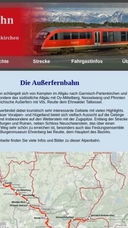 Vorschau der mobilen Webseite www.erlebnisbahn.at, Außerfernbahn