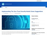Implementing The Zero Trust Security Model: Some Suggestions