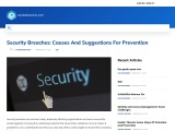 Security Breaches: Causes And Suggestions For Prevention