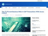 Tips To Prevent Business Risks in SAP Transactions With Access Control