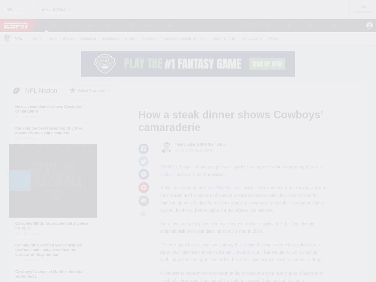 How a steak dinner shows Cowboys' camaraderie