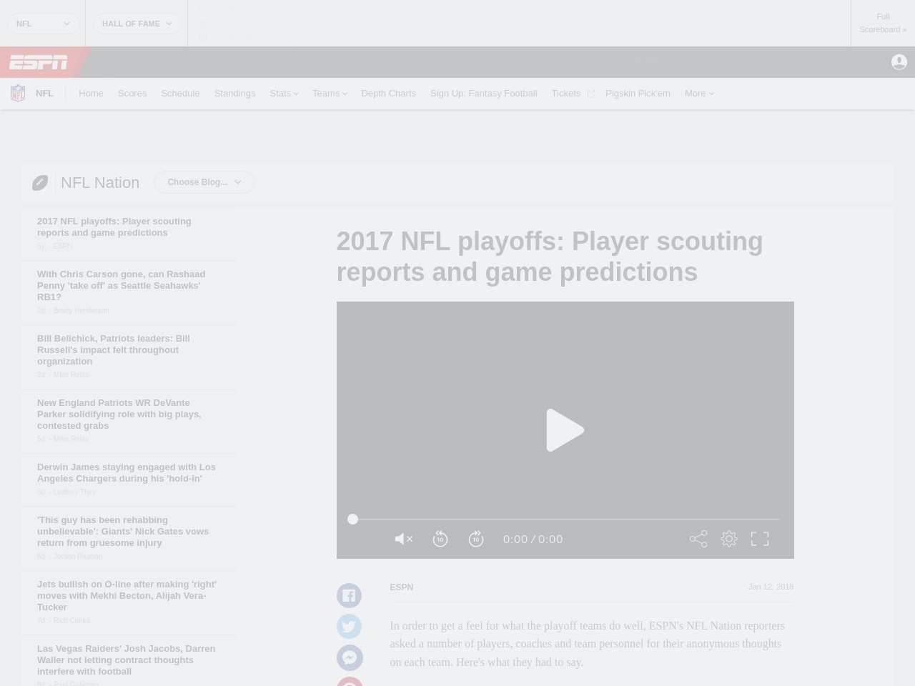 2017 NFL playoffs: Player scouting reports and game predictions