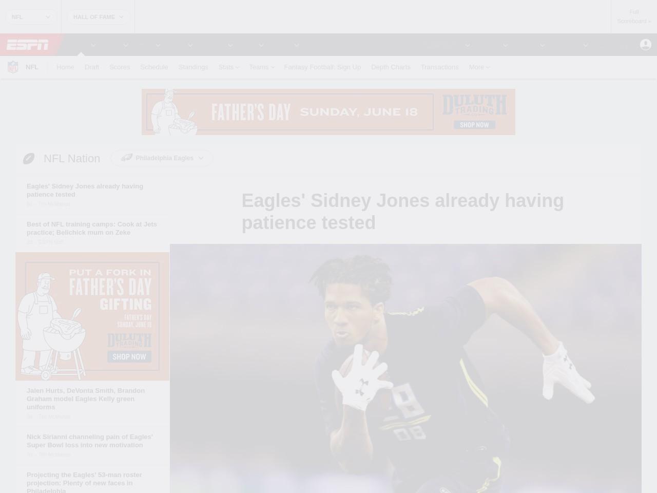 Eagles' Sidney Jones already having patience tested