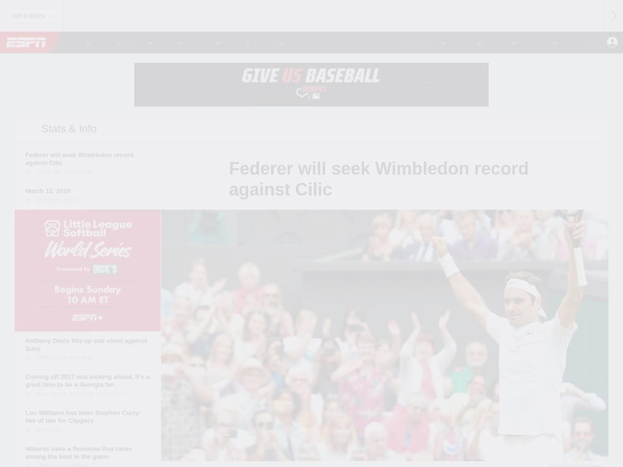 Federer will seek Wimbledon record against Cilic