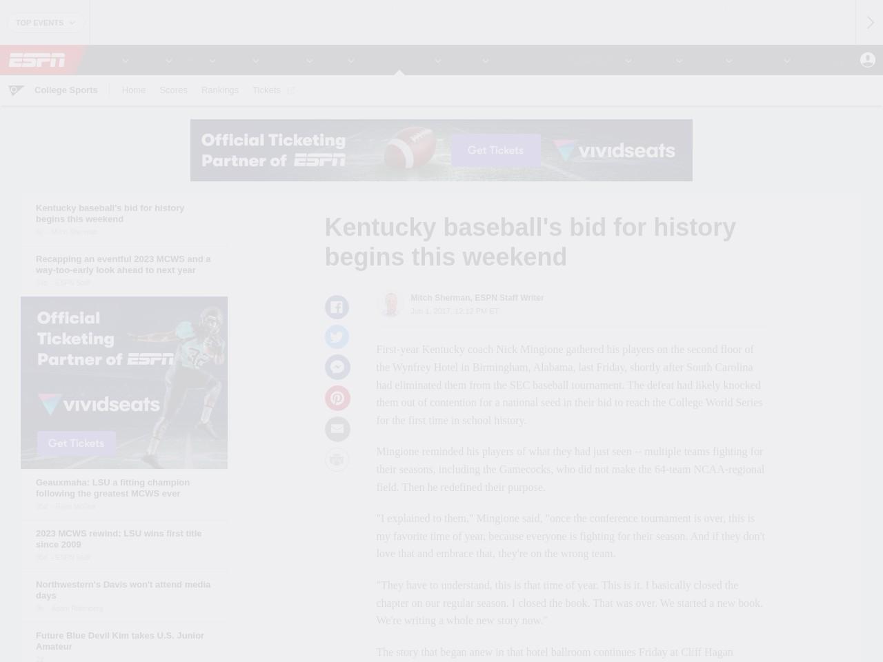Kentucky baseball's bid for history begins this weekend