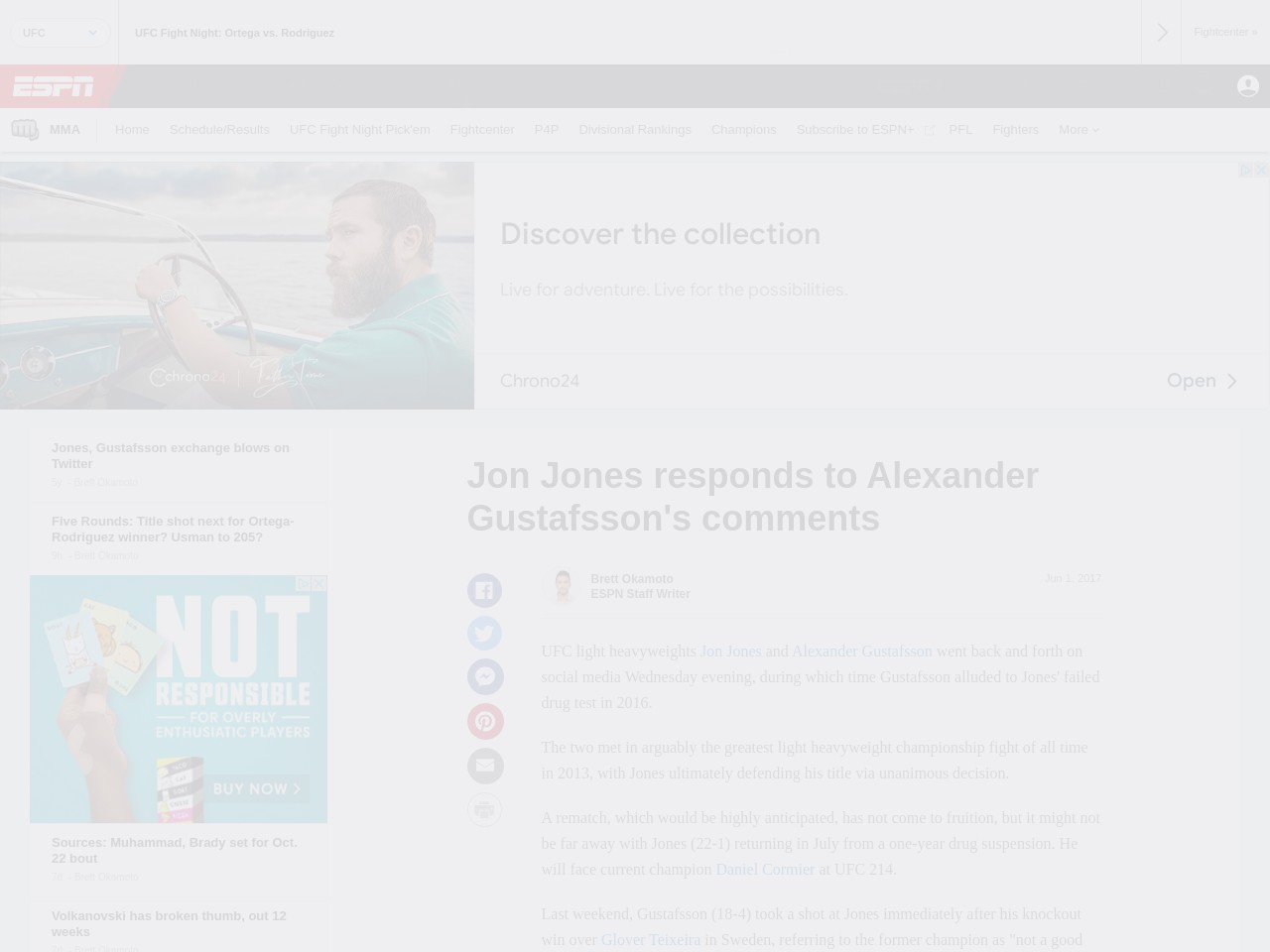 Jones, Gustafsson exchange blows on Twitter
