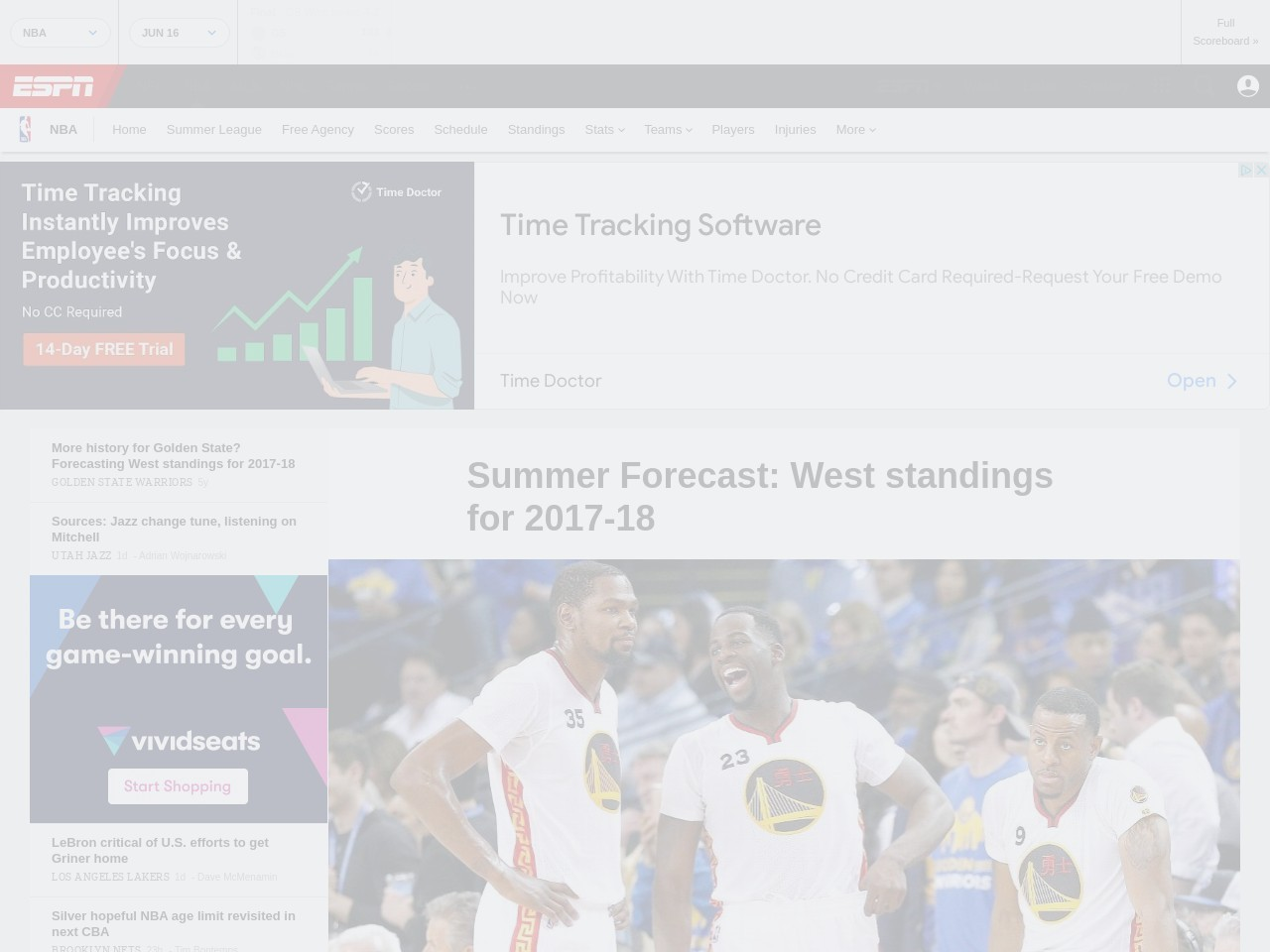 Forecasting West standings for 2017-18