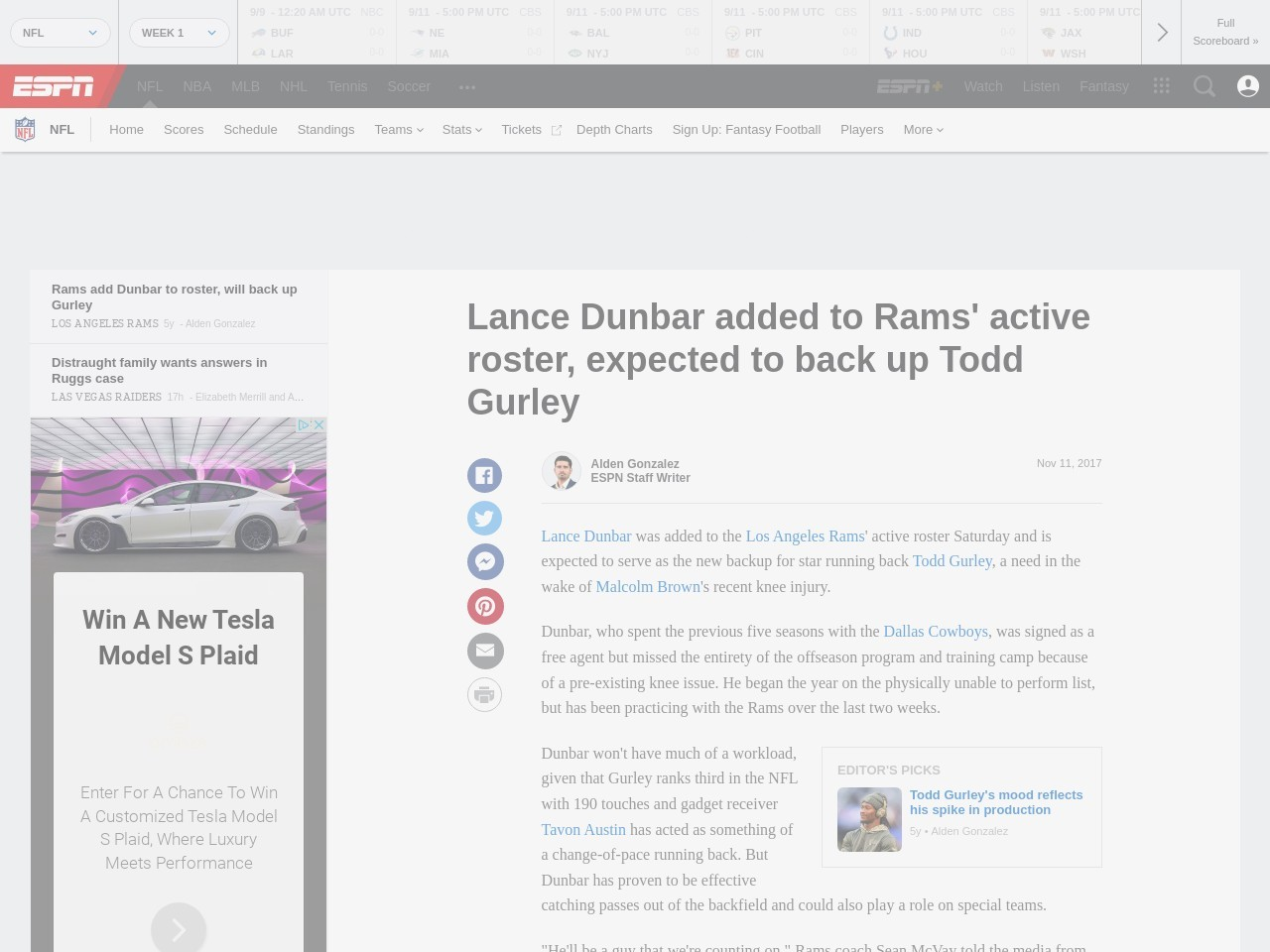 Rams add Dunbar to roster, will back up Gurley