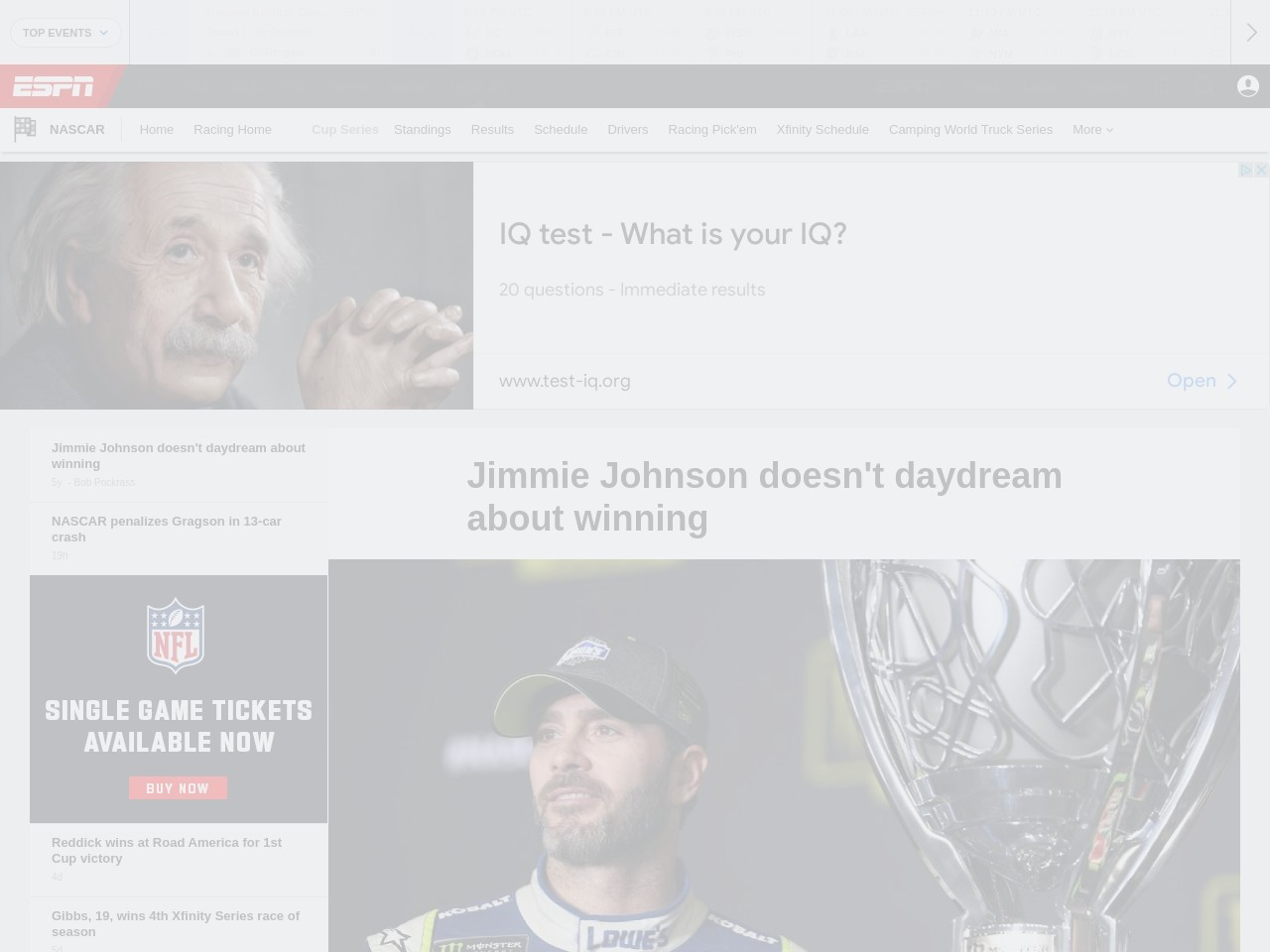 Jimmie Johnson doesn't daydream about winning